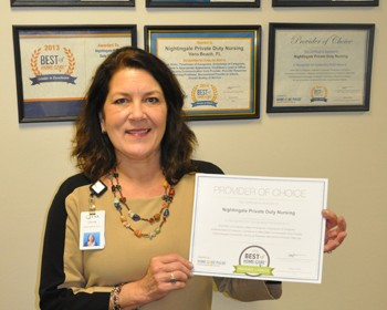 Donna Sorge, RN, program director of VNA Nightingale Private Care